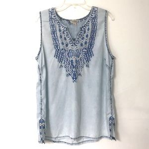 Lucky Brand | Embroidered Chambray Tank